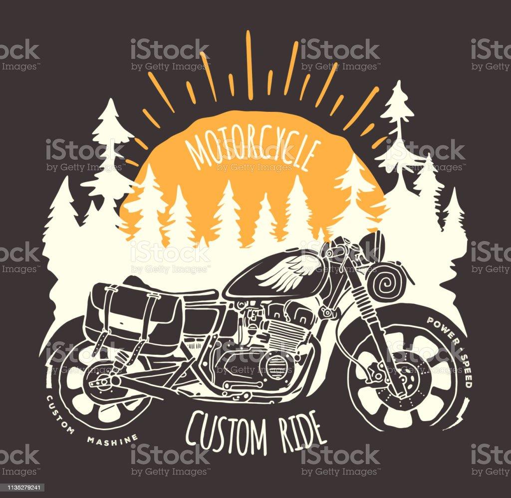 Maßgeschneiderte Radfahrreise handgezeichneter Vektor-T-Shirt-Aufdruck – Vektorgrafik