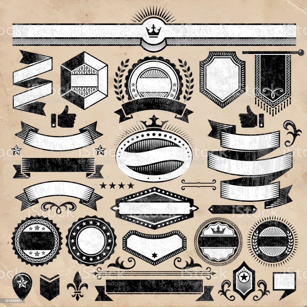 Custom Blank Collection Black White Banners Badges And Symbols Stock