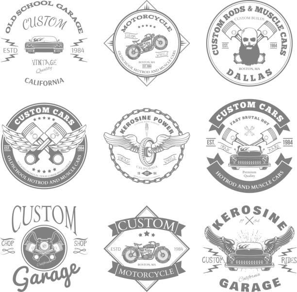 Custom Garage Label and Badges Design. Vector vector art illustration