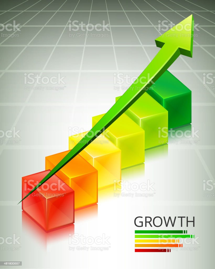 Custom Growth Cubes Business Concept royalty-free stock vector art