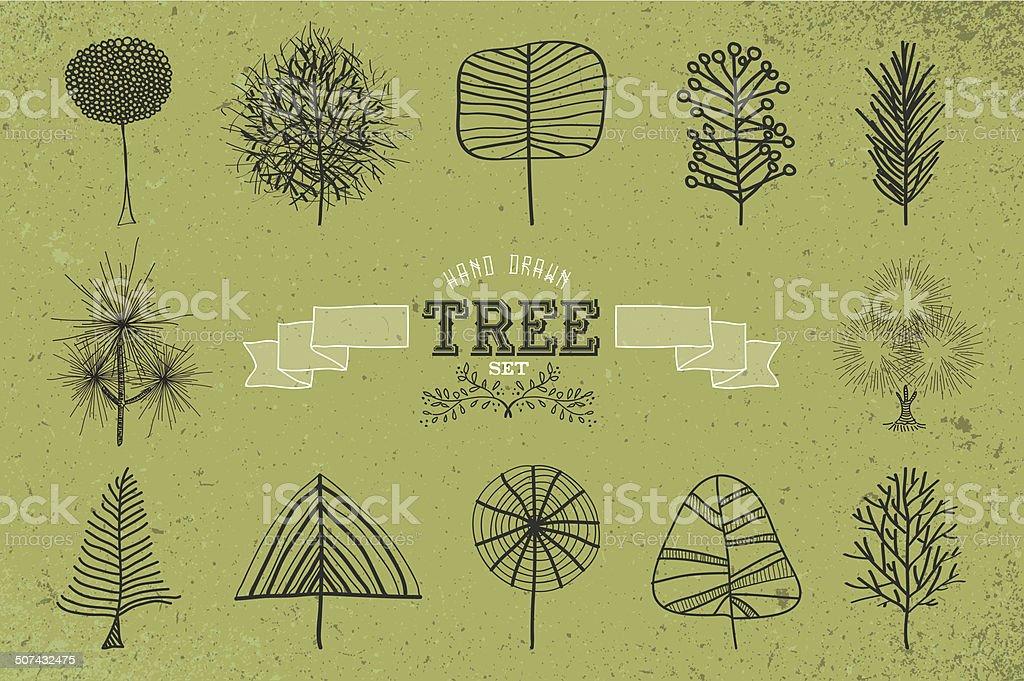 Custom Hand drawn tree icons set vector art illustration