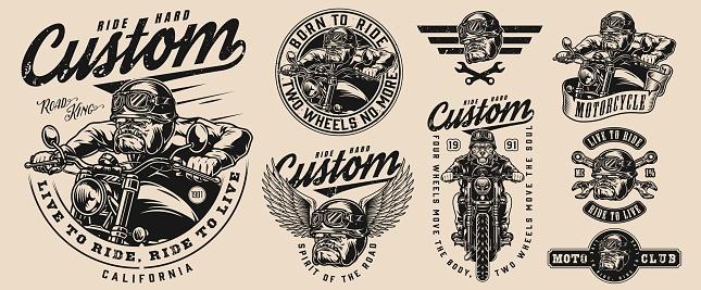 Custom motorcycle vintage monochrome emblems