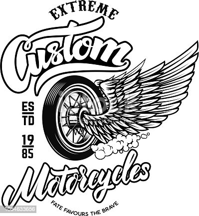 Custom motorcycles. Emblem template with winged wheel. Design element for label, sign, poster, t shirt. Vector image
