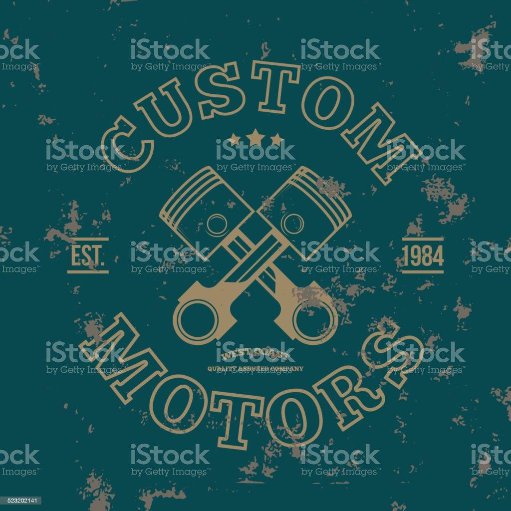 Custom motors. T-shirt graphics. Vector vector art illustration