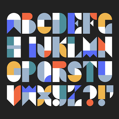 Custom typeface alphabet made with abstract geometric shapes