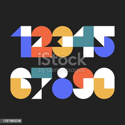 istock Custom typeface numerals made with abstract geometric shapes 1297683256