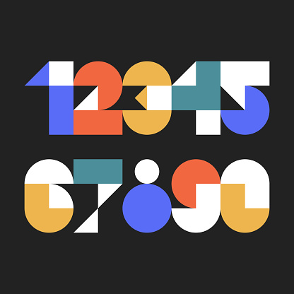Custom typeface numerals made with abstract geometric shapes