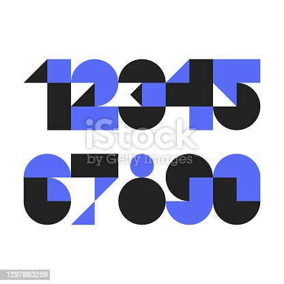 istock Custom typeface numerals made with abstract geometric shapes 1297683259