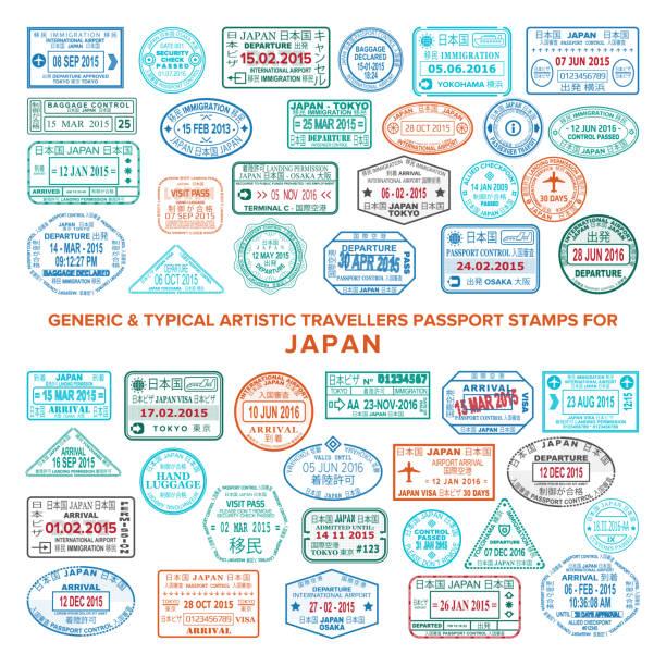 日本のカスタム ベクトル典型的な芸術的なパスポート到着と出発のスタンプ バリエーションを設定します。 - アジア旅行点のイラスト素材/クリップアート素材/マンガ素材/アイコン素材
