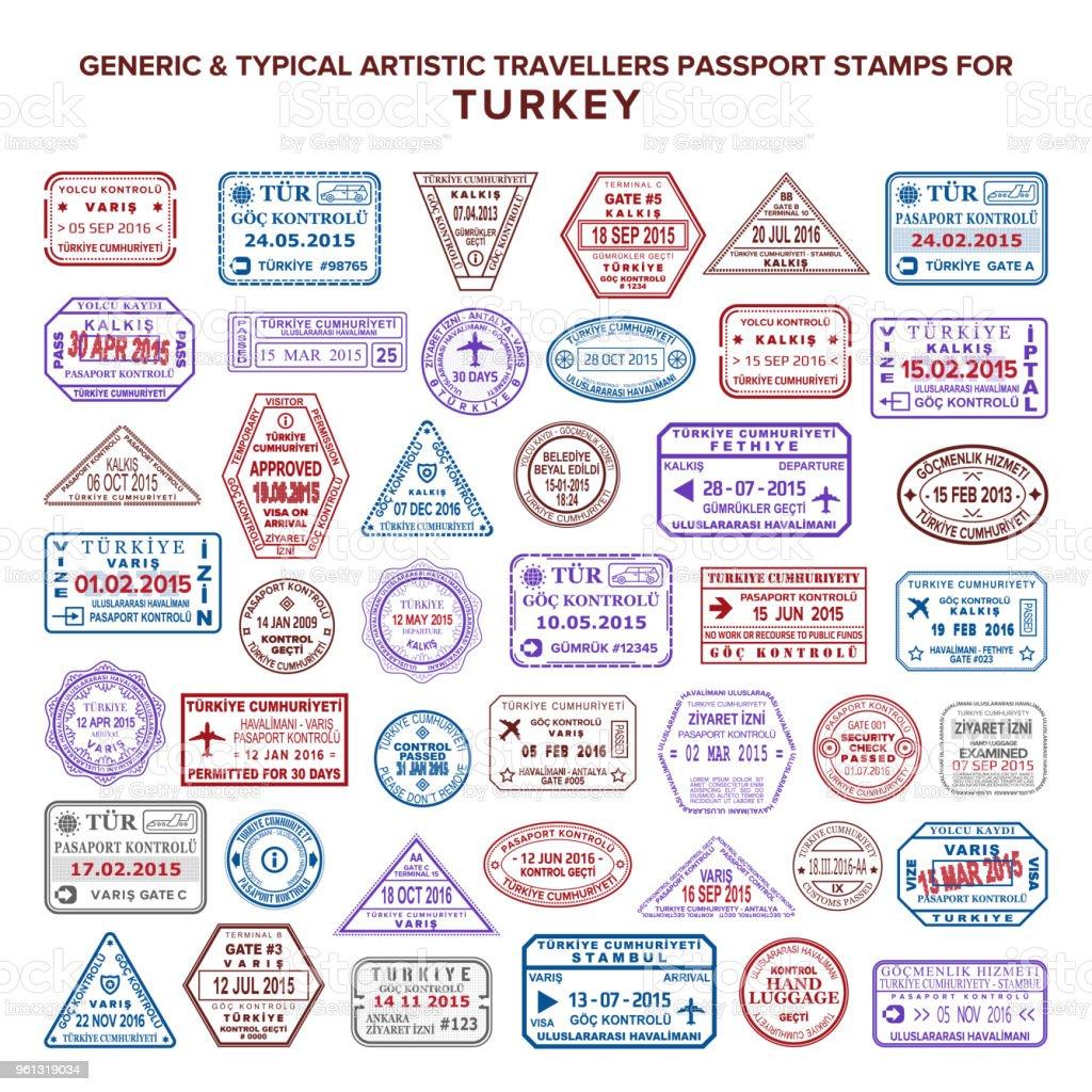 Türkiye'de özel vektör tipik sanatsal pasaport varış ve ayrılış pullar varyasyonları ayarla vektör sanat illüstrasyonu