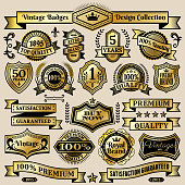Custom Vintage Quality Black & Gold Banners, Badges, and Symbols