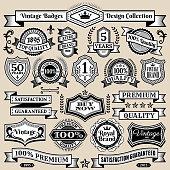 Custom Vintage Quality Black & White Banners, Badges, and Symbols