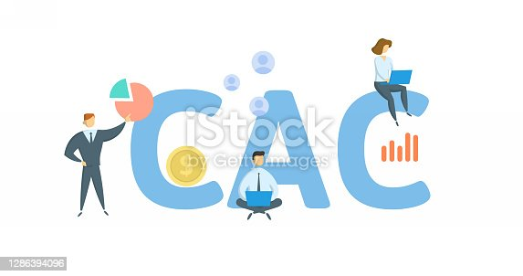 CAC, Customer Acquisition Cost. Concept with keywords, people and icons. Flat vector illustration. Isolated on white background.