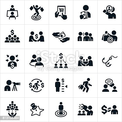 A set of icons focused on customer acquisition. They consist of the finding as well as the cost associated with gaining customers or clients.