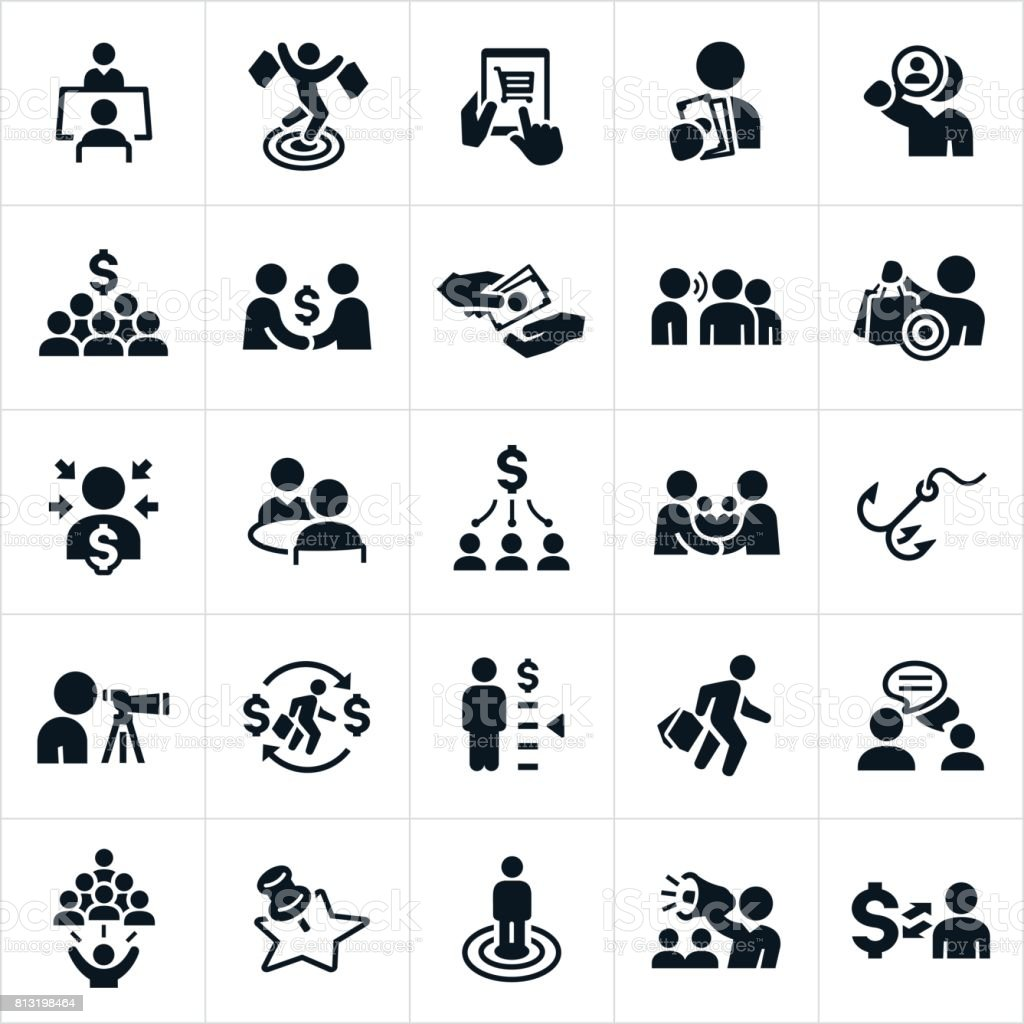 Customer Acquisition Icons vector art illustration