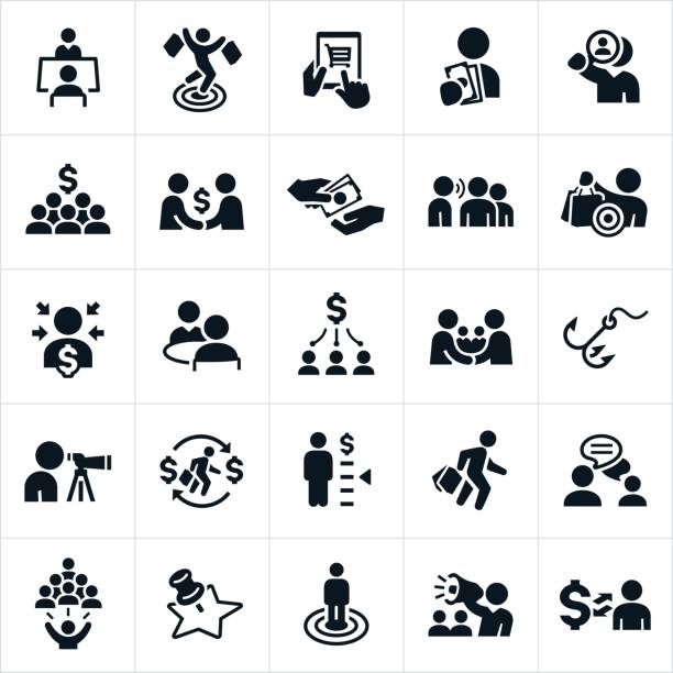 customer acquisition icons - sprzedawać stock illustrations