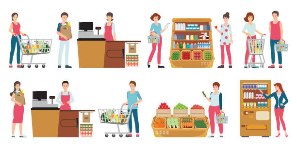 Customer and cashier in supermarket isolated on white. Customer and cashier in supermarket isolated on white, people shopping at grocery store, character cartoon Vector illustration. grocery store stock illustrations