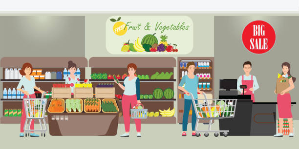 Customer and cashier in supermarket. Customer and cashier in supermarket, people shopping at grocery store, character cartoon Vector illustration. grocery aisle stock illustrations