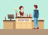 Customer at reception. Vector concept in flat style