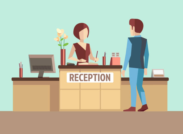 customer at reception. vector concept in flat style - receptionist stock illustrations, clip art, cartoons, & icons