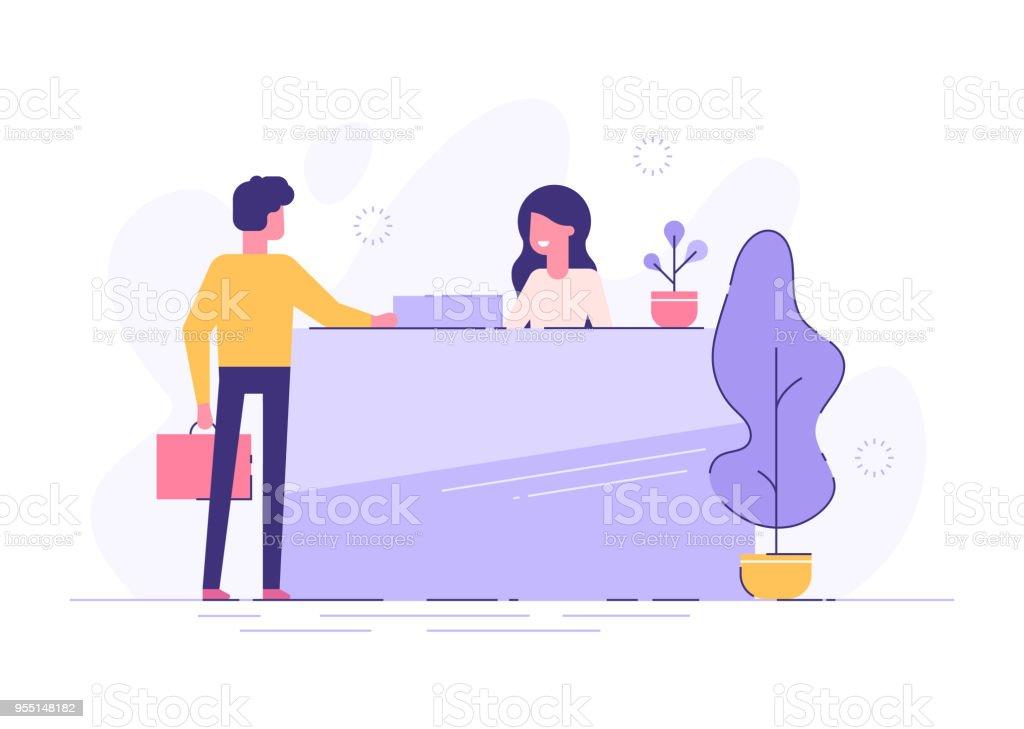 Cliente en la recepción. Recepcionista joven de pie en el mostrador de recepción. Ilustración de vector moderno. - ilustración de arte vectorial