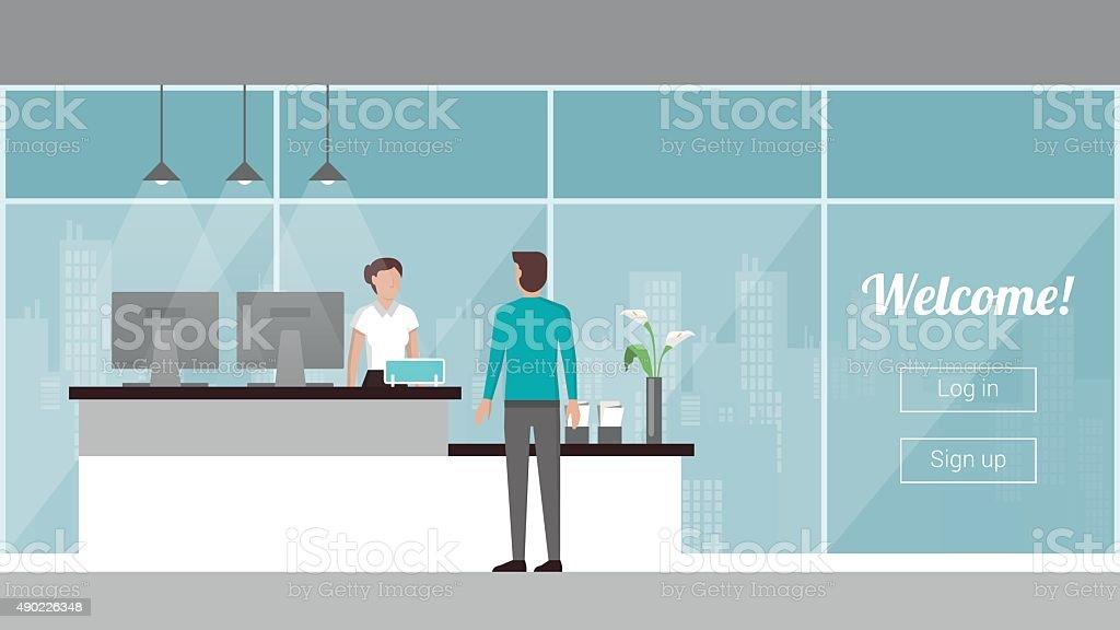 Cliente en la recepción - ilustración de arte vectorial