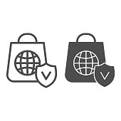 Customer bag with globe line and solid icon, global logistics service symbol, Shopping bag with planet vector sign on white background, approved quality global delivery icon in outline style. Vector