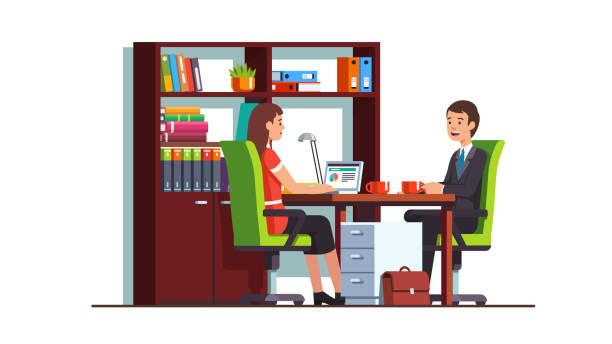 ilustraciones, imágenes clip art, dibujos animados e iconos de stock de cliente empresario encuentro sonriente contador escribano o abogado mujer en sala de oficina. empresa lugar de trabajo diseño de interiores. vector aislado plano - asesor financiero