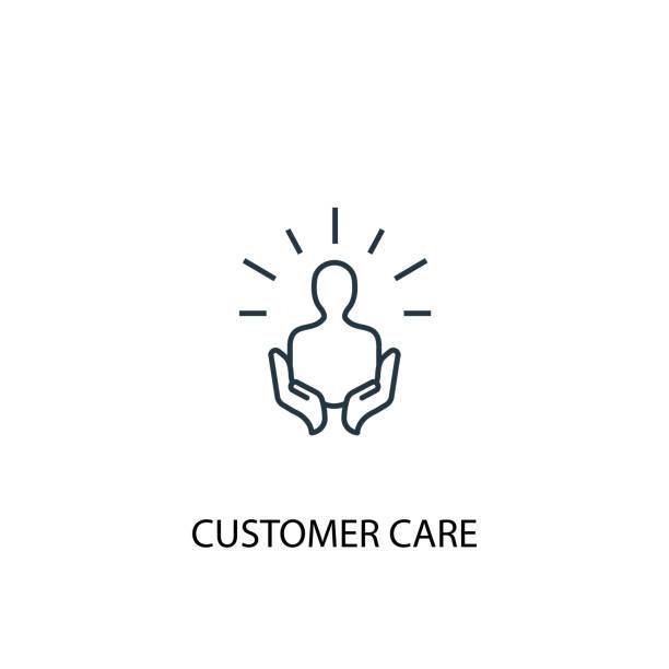 illustrazioni stock, clip art, cartoni animati e icone di tendenza di customer care concept line icon. simple element illustration. customer care concept outline symbol design. can be used for web and mobile ui/ux - paziente