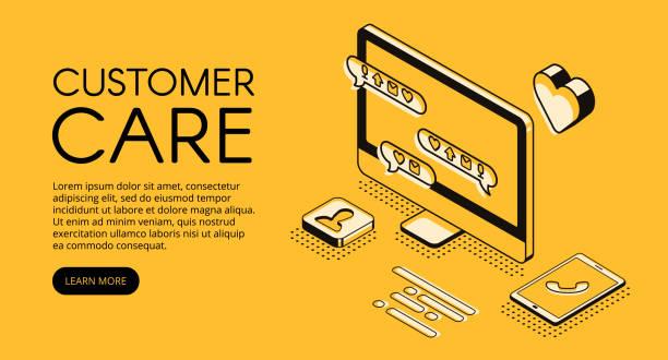 Customer care service vector halftone illustration vector art illustration