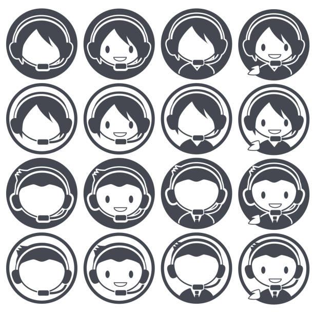 カスタマー センター オペレーター - アイコンを設定 - オペレーター 日本人点のイラスト素材/クリップアート素材/マンガ素材/アイコン素材