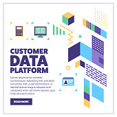Customer data platform vector banner illustration also contains icons for the topic.