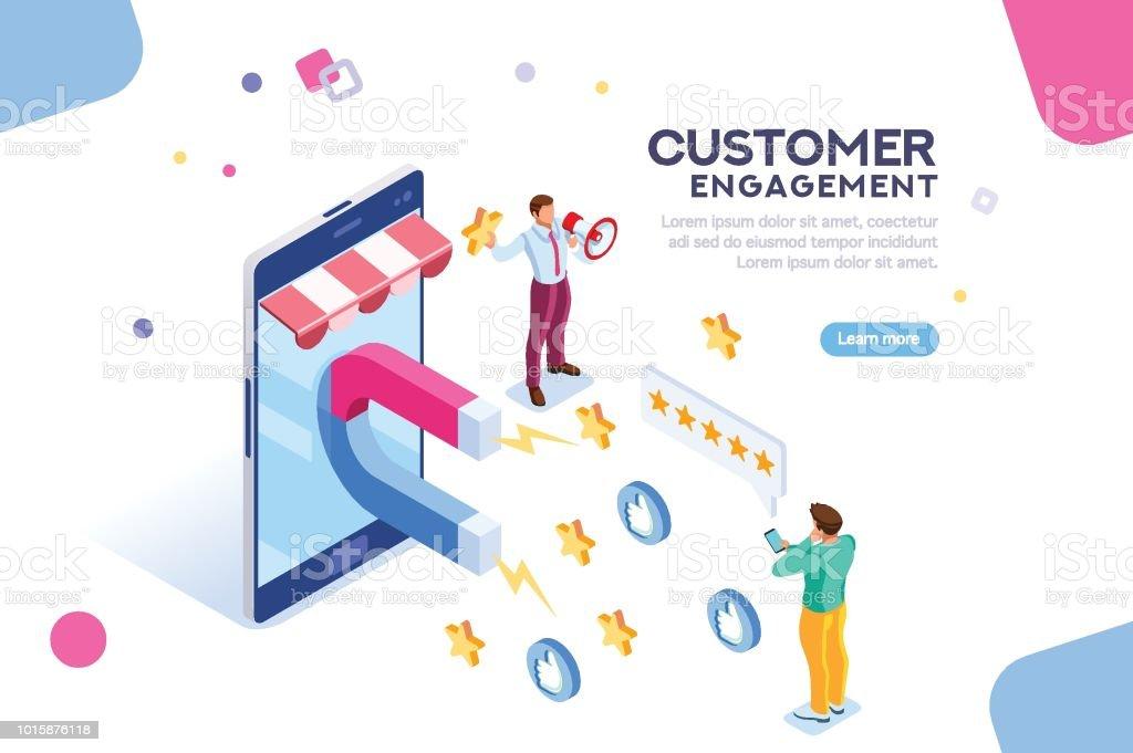 Customer Engagement for Like or Star vector art illustration