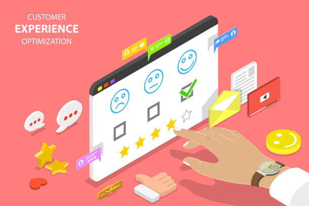 Customer experience optimization isometric flat vector concept. Isometric flat vector concept of customer experience optimization, crm, relationship management, client rating, user satisfaction. happy boss stock illustrations