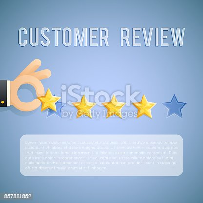 Customer Experience Review Hand Holding Star Template Background ...