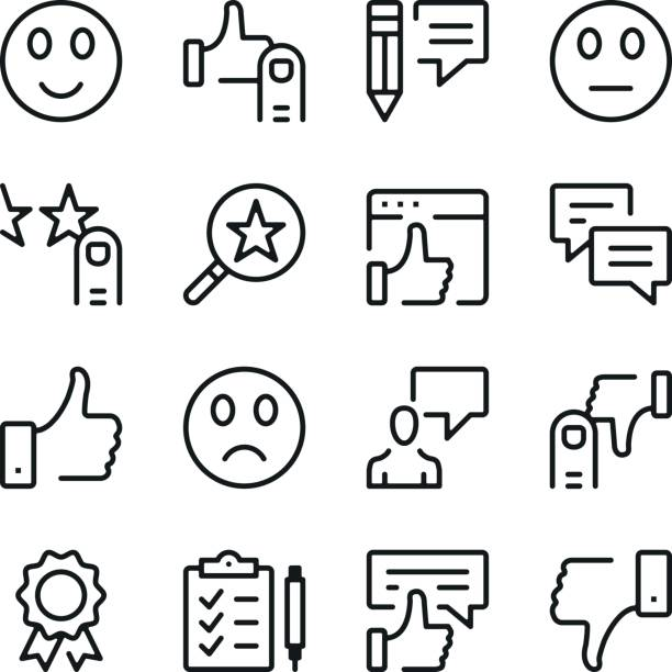 Témoignages et commentaires de clients ligne ensemble d'icônes. Concepts de design graphique moderne, collection elements contour simple. Icônes de vecteur ligne - Illustration vectorielle