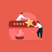customer feedback assessment concept, online rating landing page, Customer satisfaction, client choice, rate app, rating stars, feedback concepts.