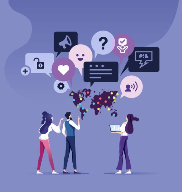 illustrations, cliparts, dessins animés et icônes de concept de rétroaction des clients. parler équipe d'affaires avec rétroaction bulle de discours - relation client