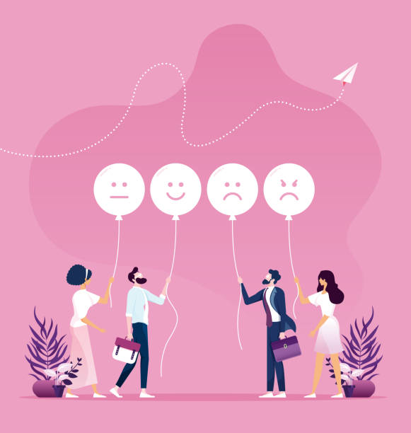 illustrazioni stock, clip art, cartoni animati e icone di tendenza di customer feedback concept - emozione