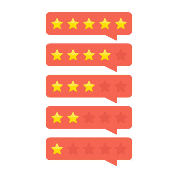 Customer feedback concept. Review rating bubble with gold stars rate. Customer feedback concept. Template of reviews stars rate. Rank or level of satisfaction rating. Vector illustration in flat style. EPS 10. five people stock illustrations
