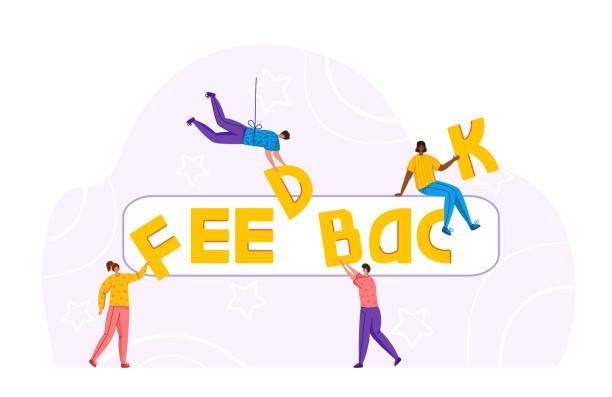 ilustrações, clipart, desenhos animados e ícones de conceito de feedback do cliente - vetor - feedback