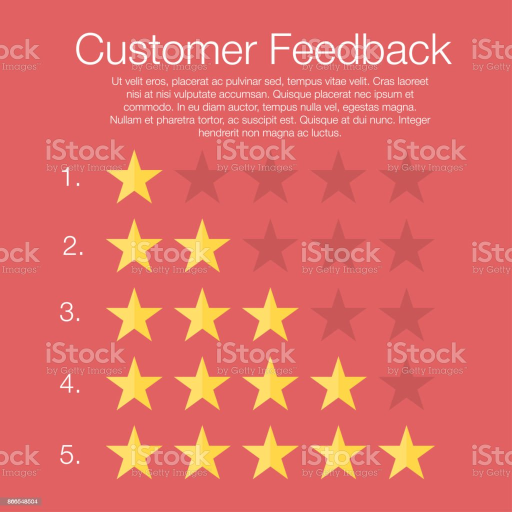 Customer feedback. Five rating levels with stars vector art illustration
