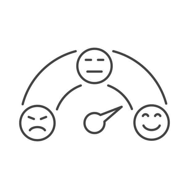 ilustrações, clipart, desenhos animados e ícones de medição de feedback do cliente em escala redonda ruim para grande ícone vetorial. escala de classificação de satisfação do cliente. a escala de emoções com sorrisos - feedback