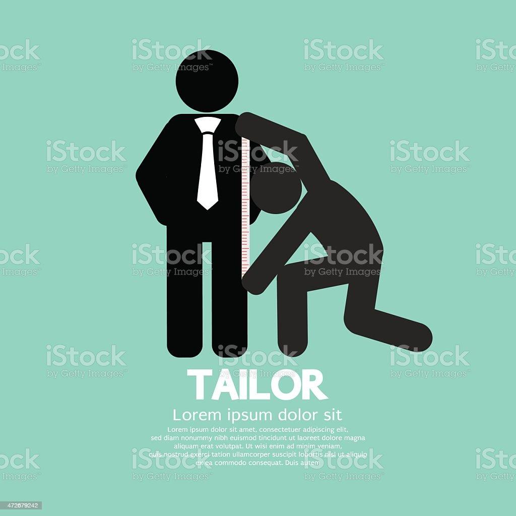 Customer Getting Measure By Tailor Symbol vector art illustration