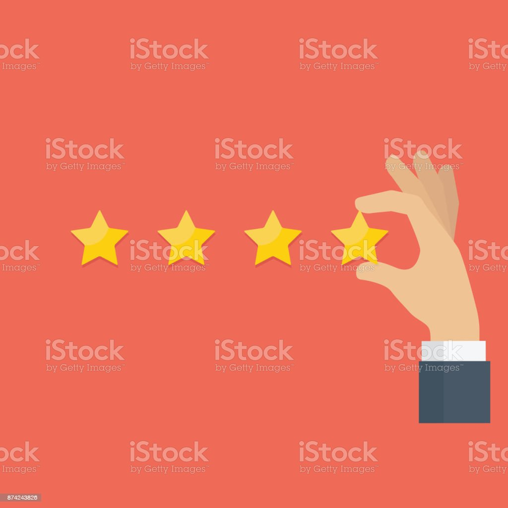 Customer hand giving rating star, customer review, rating, user feedback concept vector art illustration