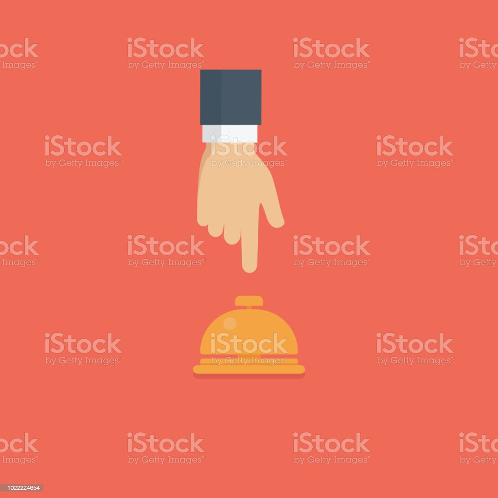 Customer hand pushing hotel reception bell, Service bell illustration vector art illustration