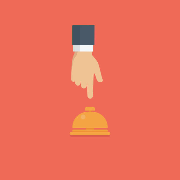 bildbanksillustrationer, clip art samt tecknat material och ikoner med kunden hand driver hotel reception bell, service bell illustration - on demand