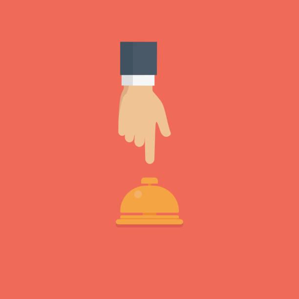 customer hand pushing hotel reception bell, service bell illustration - hotel reception stock illustrations