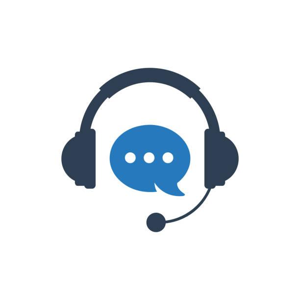 bildbanksillustrationer, clip art samt tecknat material och ikoner med kund hjälp linje support ikon koncept vektor illustration. ikon koncept för teknisk support. online chat-ikon. - headset