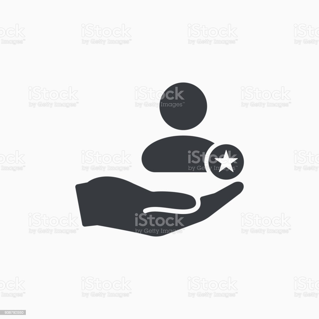 Customer icon with star sign. Customer icon and best, favorite, rating symbol vector art illustration
